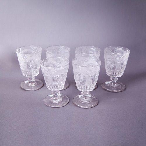 19th Century Set of Six Irish Waterford Glasses