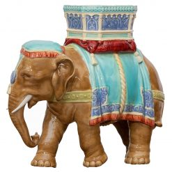 19th Century Royal Worcester Majolica Elephant