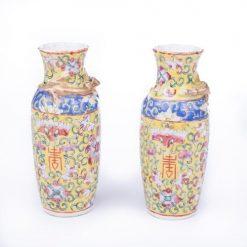 19th Century Cantonese Pair of Famille Rose Miniatures