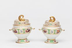 19th Century Pair of Worcester Porcelain Preserve Pots with Lids