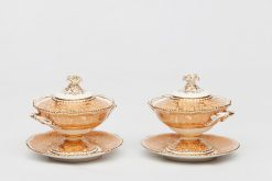 18th Century Pair of Porcelain and Gilt Salmon Ground Tureen