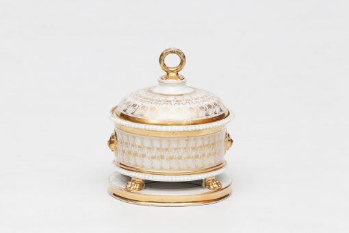 19th Century Paris Porcelain Empire Circular Inkwell