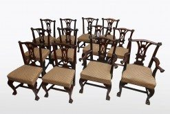 18th Century Set of Twelve Carved Mahogany Chippendale Style Dining Chairs