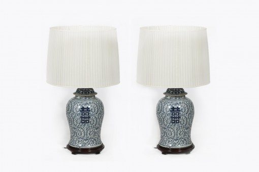 Mid 20th Century Decorative Flared Neck Vases with Areta Blue Pattern