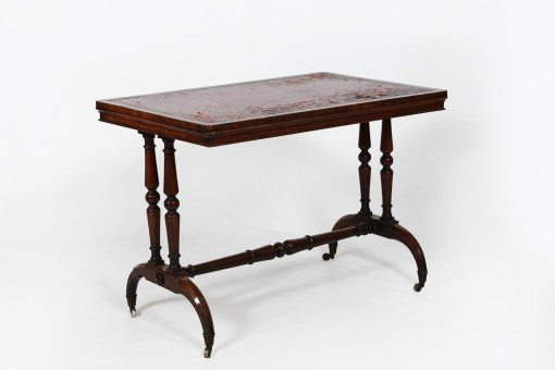 19th Century Leather Top Writing Table, Stamped James Winter