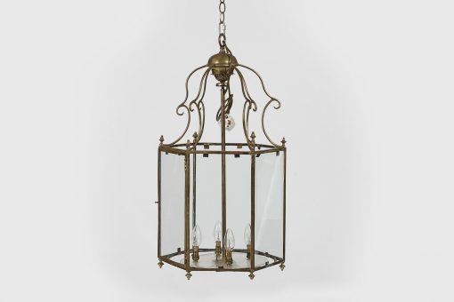 19th Century Regency Brass Hexagonal Lantern with a Floral Finial