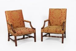 19th Century Pair of Georgian Mahogany Gainsborough Chairs