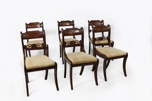 Early 19th Century Regency Set of Six Mahogany Dining Chairs with Brass Line Inlay