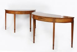 Pair of 18th Century Satinwood Demilune Tables