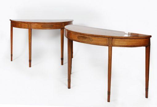 Pair of 18th Century Satinwood Demilune Tables