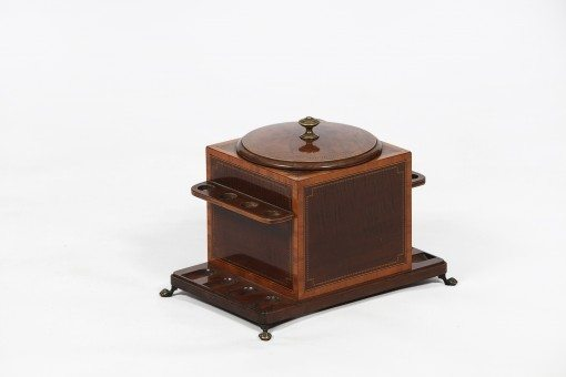 Early 20th Century Humidor and Eight Pipe Stand