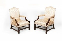 19th Century Irish Pair of Mahogany Gainsborough Library Armchairs