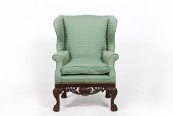 18th Century George II Mahogany Wing Chair