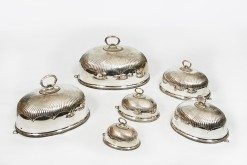 Early 19th Century Regency Set of Six Graduated Silver Plated Cloches