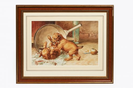 19th Century Watercolour of Dogs by Edmund Caldwell