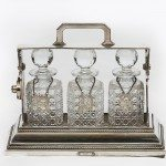 19th Century Silver Plate Three Bottle Tantalas