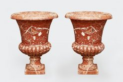 19th Century Pair of Large Bohemian Breccia Marble Urns