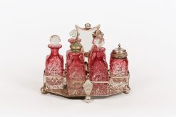 19th Century EPNS and Cranberry Glass Six Piece Cruet Set