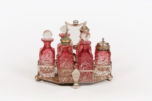 19th Century EPNS and Cranberry Glass Six Piece Cruet Set