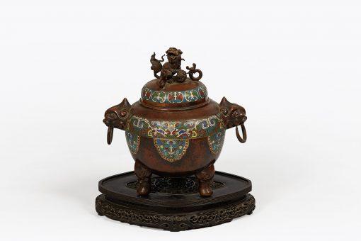 Ming Dynasty Bronze and Cloisonne Enamelled Lidded Pot
