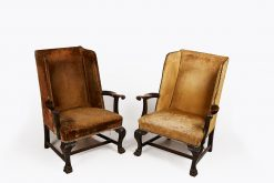 18th Century Pair of Georgian Mahogany Wing Chairs