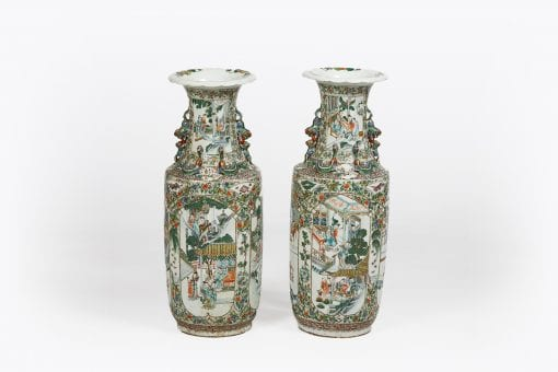 18th Century Pair of Cantonese Famille Verte Porcelain Vases