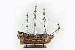 19th Century Handmade Wooden Model of an 18th Century Man of War Battle Ship