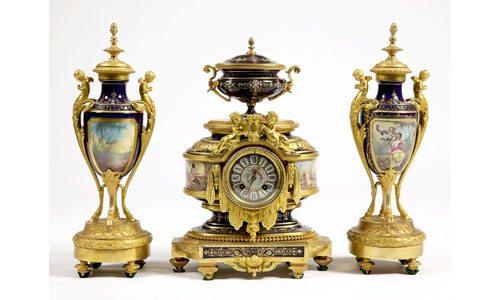 19th Century Gilt Bronze and 'Sevres' Porcelain Clock Garniture