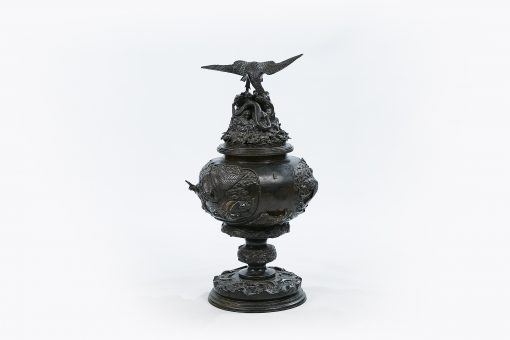 19th Century Japanese Bronze Koro and Cover