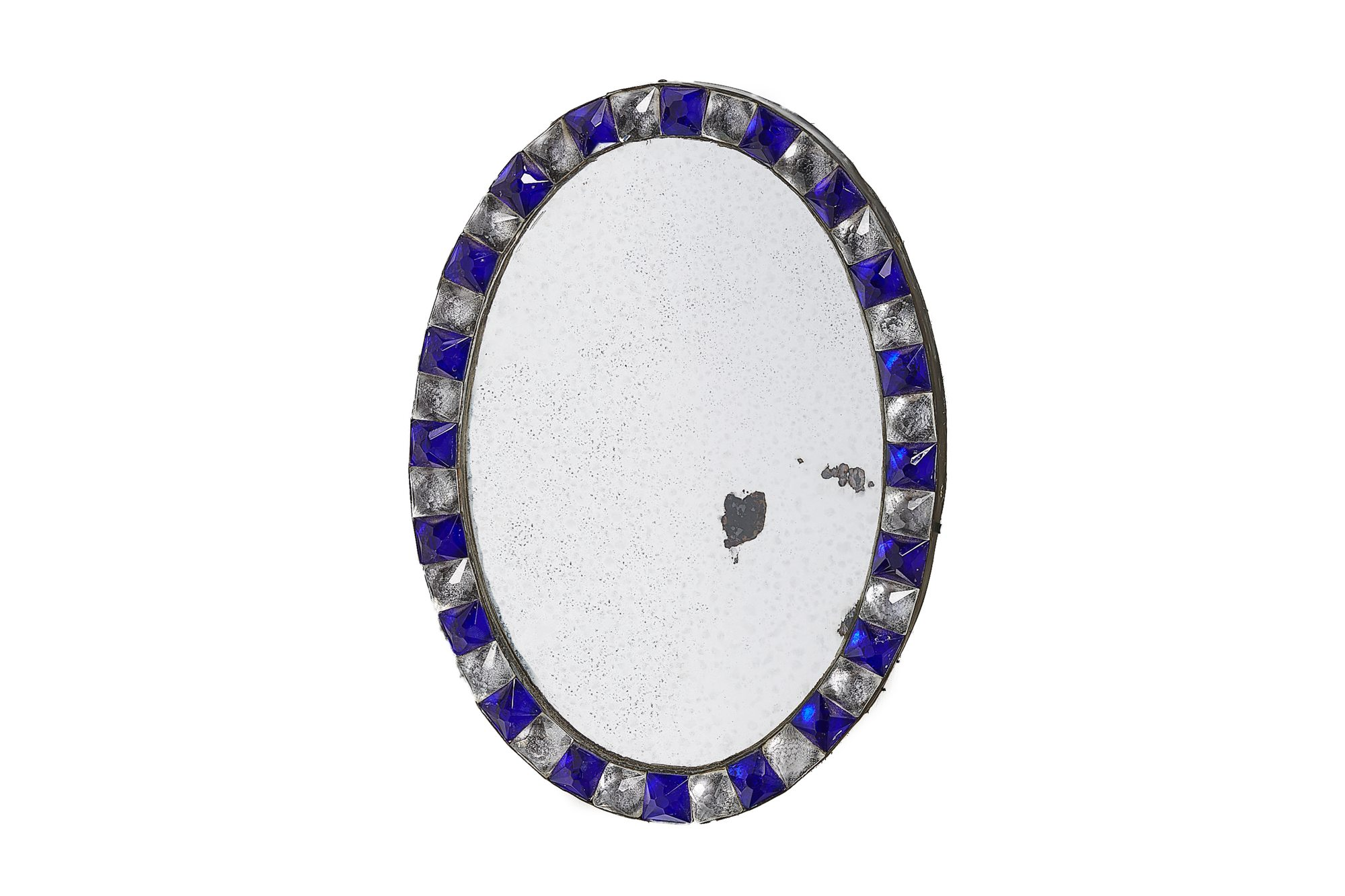 Early 19th Century George Iii Small Blue And White Glass Oval Mirror