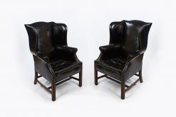 Pair of Late 19th Century Wing Back Library Armchairs