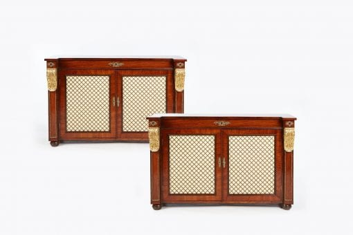 19th Century William IV Pair of Rosewood Brass Grille Cabinets