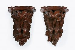 19th Century Pair of Finely Carved Wall Bracket Shelves