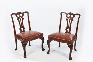 18th Century Georgian Pair of Rosewood Open Splat Chairs