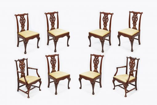 19th Century Set of Eight Chippendale Style Dining Chairs