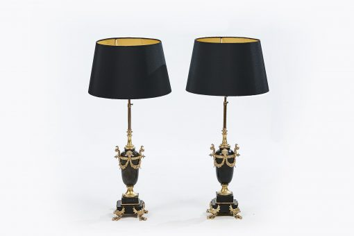 Pair of 20th Century Marble and Gilt Lamps in the Neo Classical Style