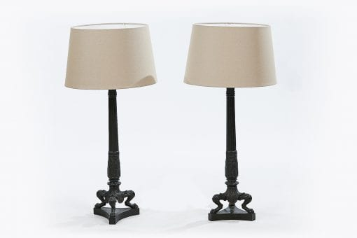 Pair of Twentieth Century Corinthian Column Metal Lamps