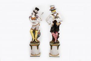 19th Century Pair of Unusually Large Ceramic Painted Figures on Plinths