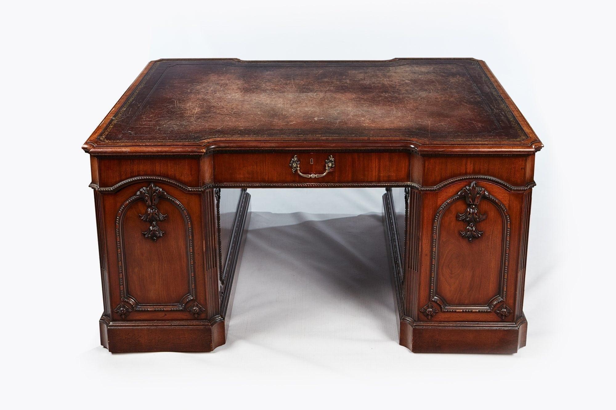 desk leather pedestal antique topped c victorian large partners desks