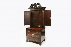 10253 - 18th Century Georgian Flame Mahogany Estate Cabinet Secretaire