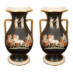 19th Century Pair of Porcelain Amphora Urns