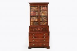 19th Century Mahogany Inlaid Slope Front Secretaire Bookcase