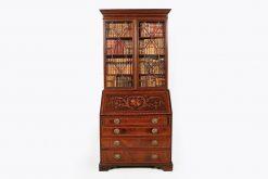 19th Century Mahogany Inlaid Slope Front Secretaire Bookcase