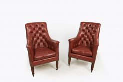9841 - Pair of Buttoned Leather Library Armchairs