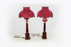 10128 and 10129 - 19th Century Early Victorian Cranberry Glass Oil Lamp