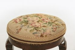 10206 - 19th Century Mahogany Circular Stool with Embroidered Cushion