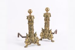 10225 - Early 19th Century William IV Pair of Ornate Brass Fire Dogs