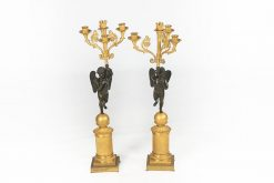 10276 - 19th Century Neoclassical Pair of Large Figural Bronze and Gilt Candelabra
