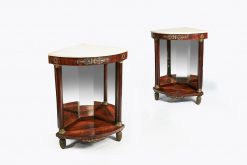 10291 - Early 19th Century Empire Pair of Mahogany Marble Topped Corner Console Tables