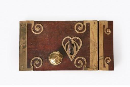10294 - 18th Century George III Mahogany and Brass Bound Door Lock